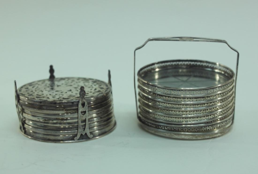 (2) Whiting Silver Overlay & Gallery Coaster Sets