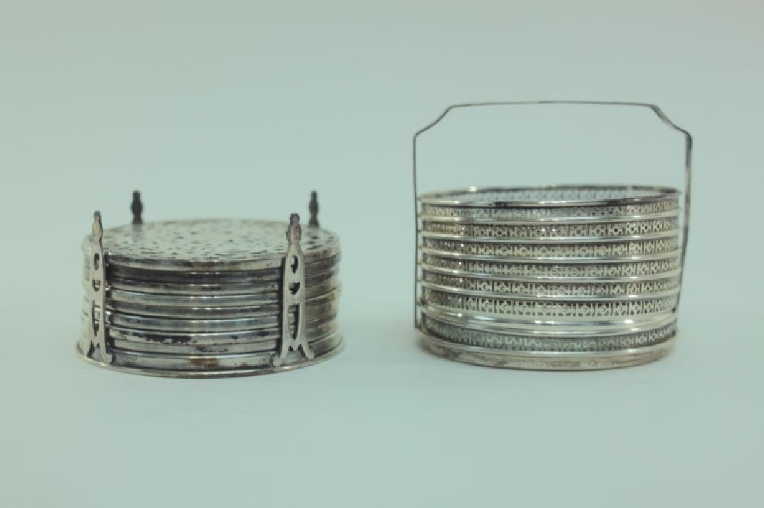 (2) Whiting Silver Overlay & Gallery Coaster Sets - 2