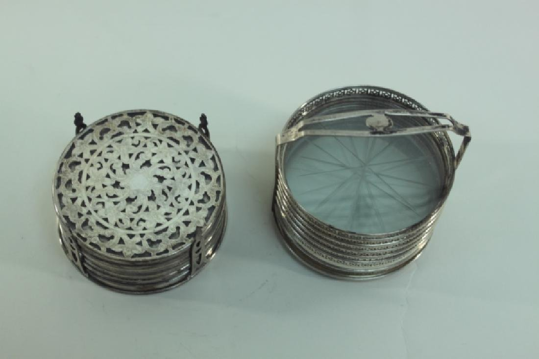 (2) Whiting Silver Overlay & Gallery Coaster Sets - 3