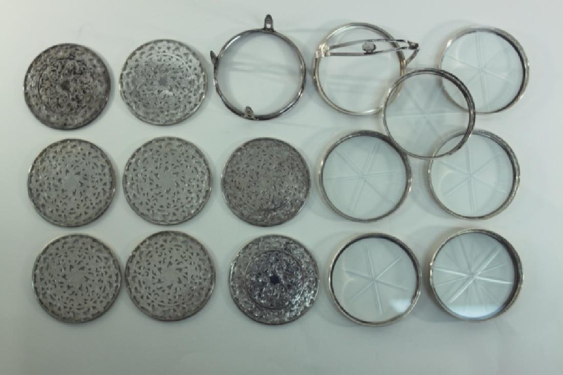 (2) Whiting Silver Overlay & Gallery Coaster Sets - 4
