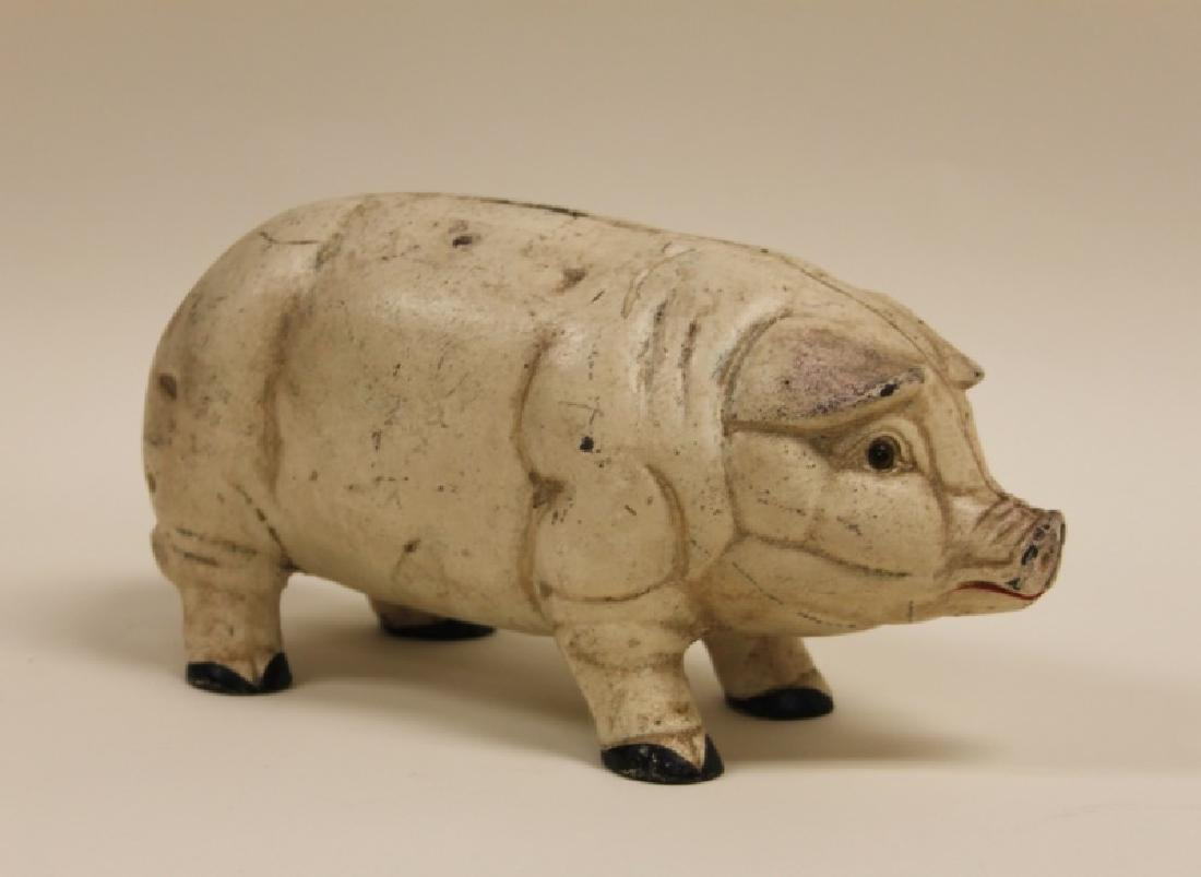 19C American Cast Iron Piggy Bank w Glass Eyes