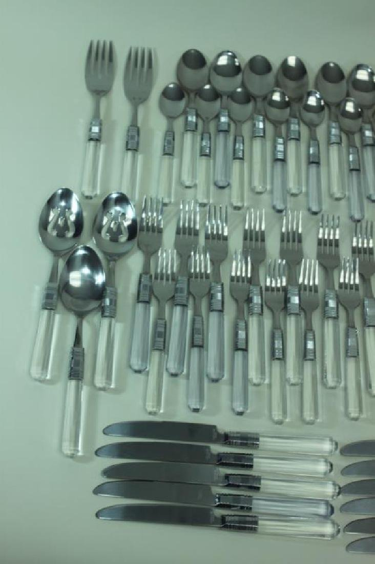 (84)Pc MCM Stainless & Lucite Handled Flatware Set - 3