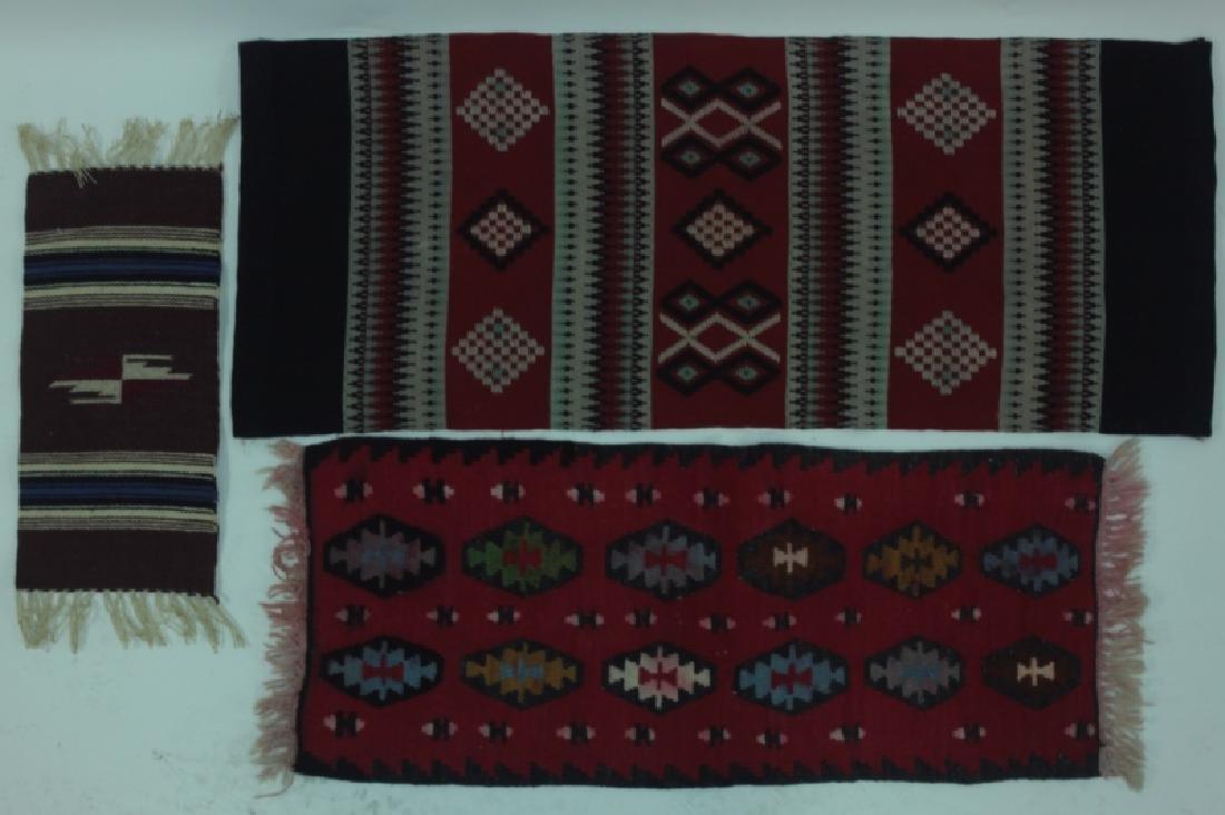 (3)pc Navajo American Indian Wool Rugs & Tapestry