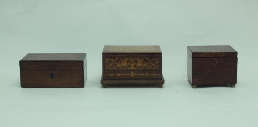 (3) Antique Wood Boxes w Tea Caddy, & Inlaid Boxes