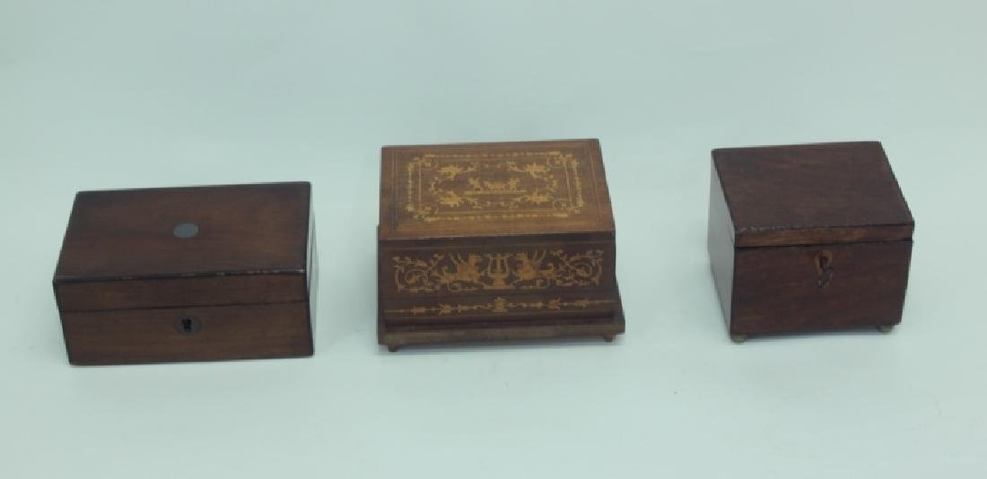 (3) Antique Wood Boxes w Tea Caddy, & Inlaid Boxes - 2