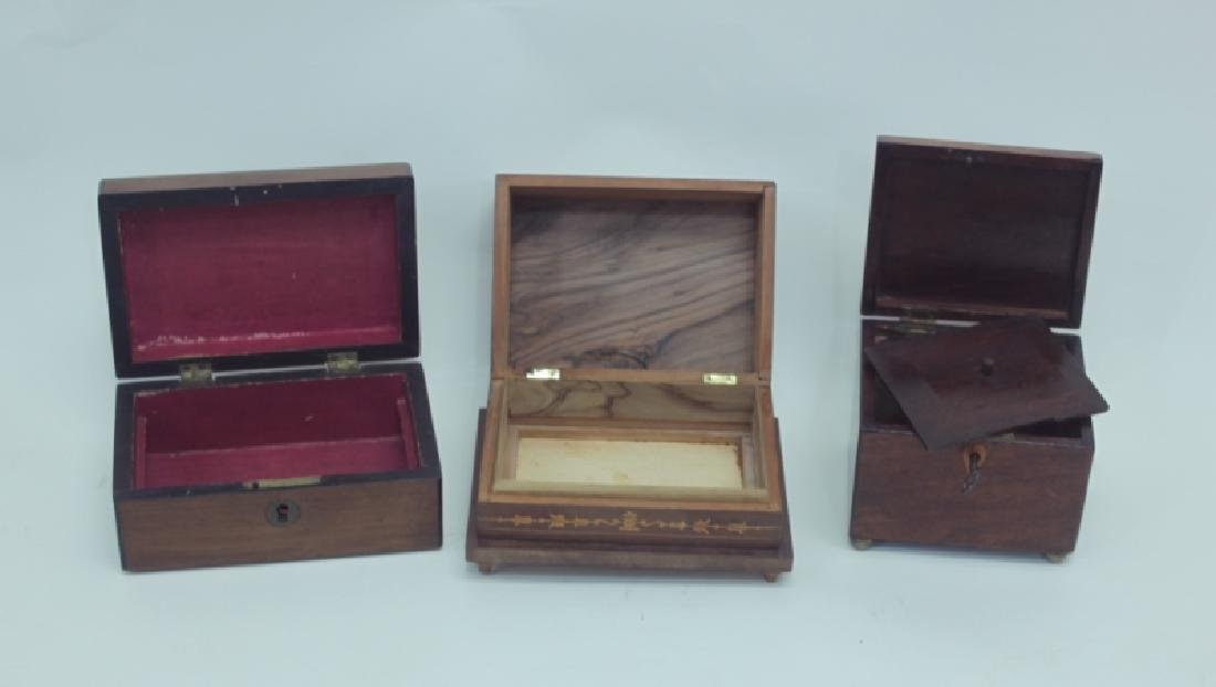 (3) Antique Wood Boxes w Tea Caddy, & Inlaid Boxes - 3