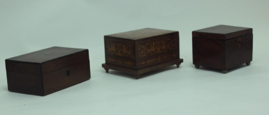 (3) Antique Wood Boxes w Tea Caddy, & Inlaid Boxes - 4