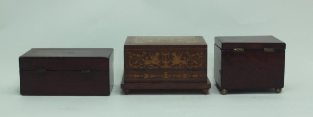 (3) Antique Wood Boxes w Tea Caddy, & Inlaid Boxes - 5