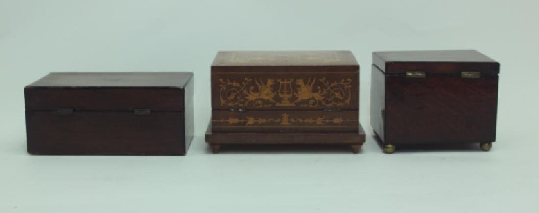 (3) Antique Wood Boxes w Tea Caddy, & Inlaid Boxes - 6