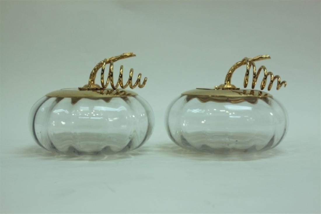Pair Italian Crystal & Dore Lidded Gourd Form Jars