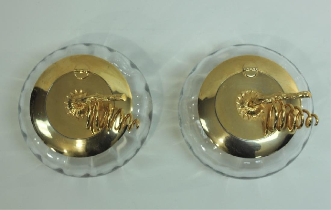 Pair Italian Crystal & Dore Lidded Gourd Form Jars - 3