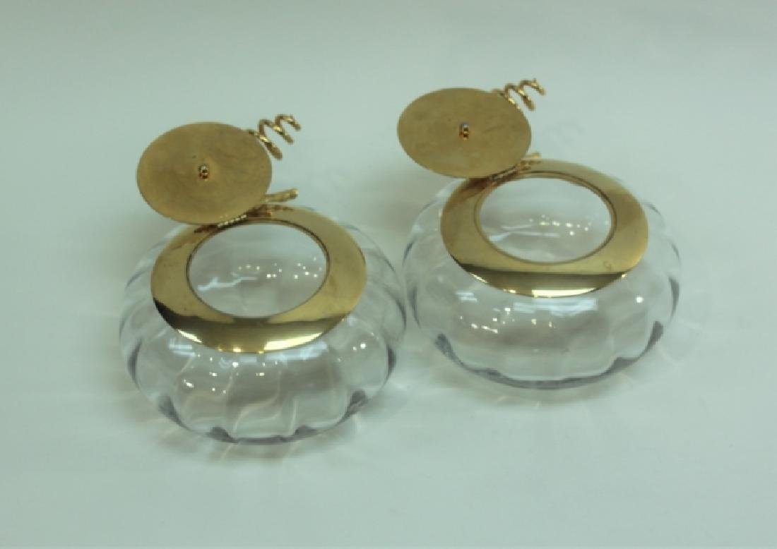 Pair Italian Crystal & Dore Lidded Gourd Form Jars - 4