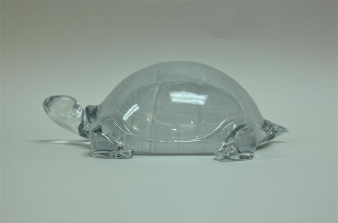 Vintage Daum France Life Size Crystal Turtle