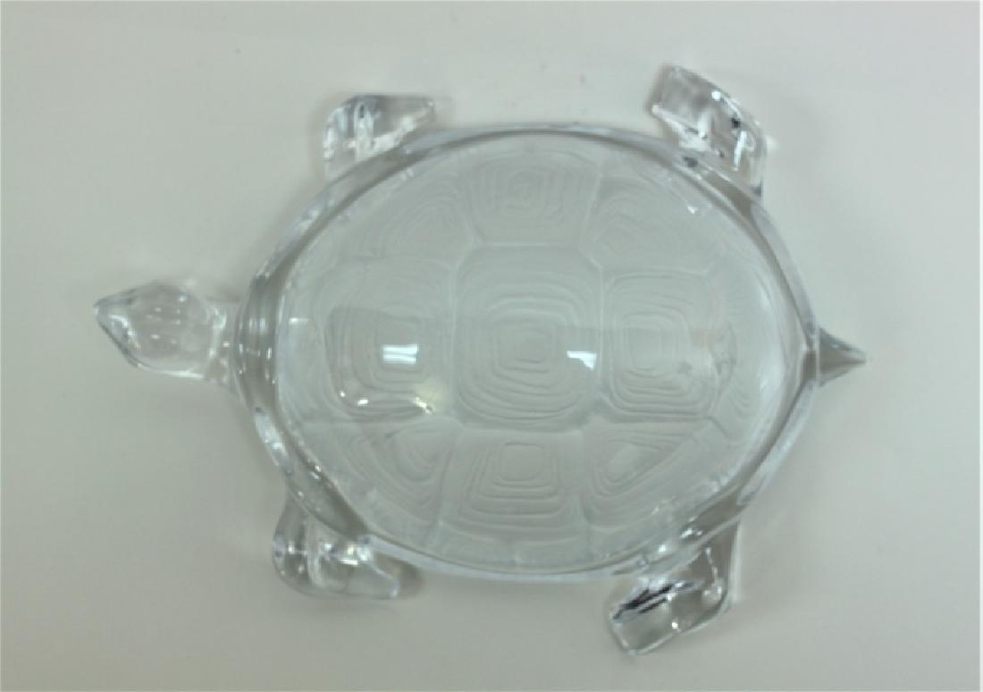Vintage Daum France Life Size Crystal Turtle - 3