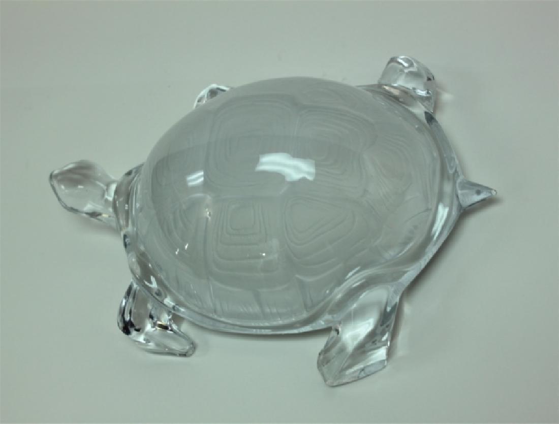 Vintage Daum France Life Size Crystal Turtle - 4