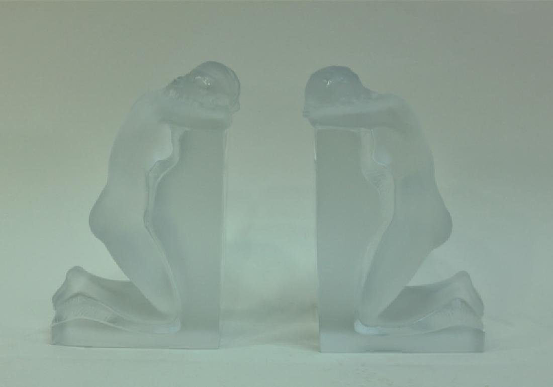 """Pair of Nude Female Lalique """"Reverie"""" Bookends"""