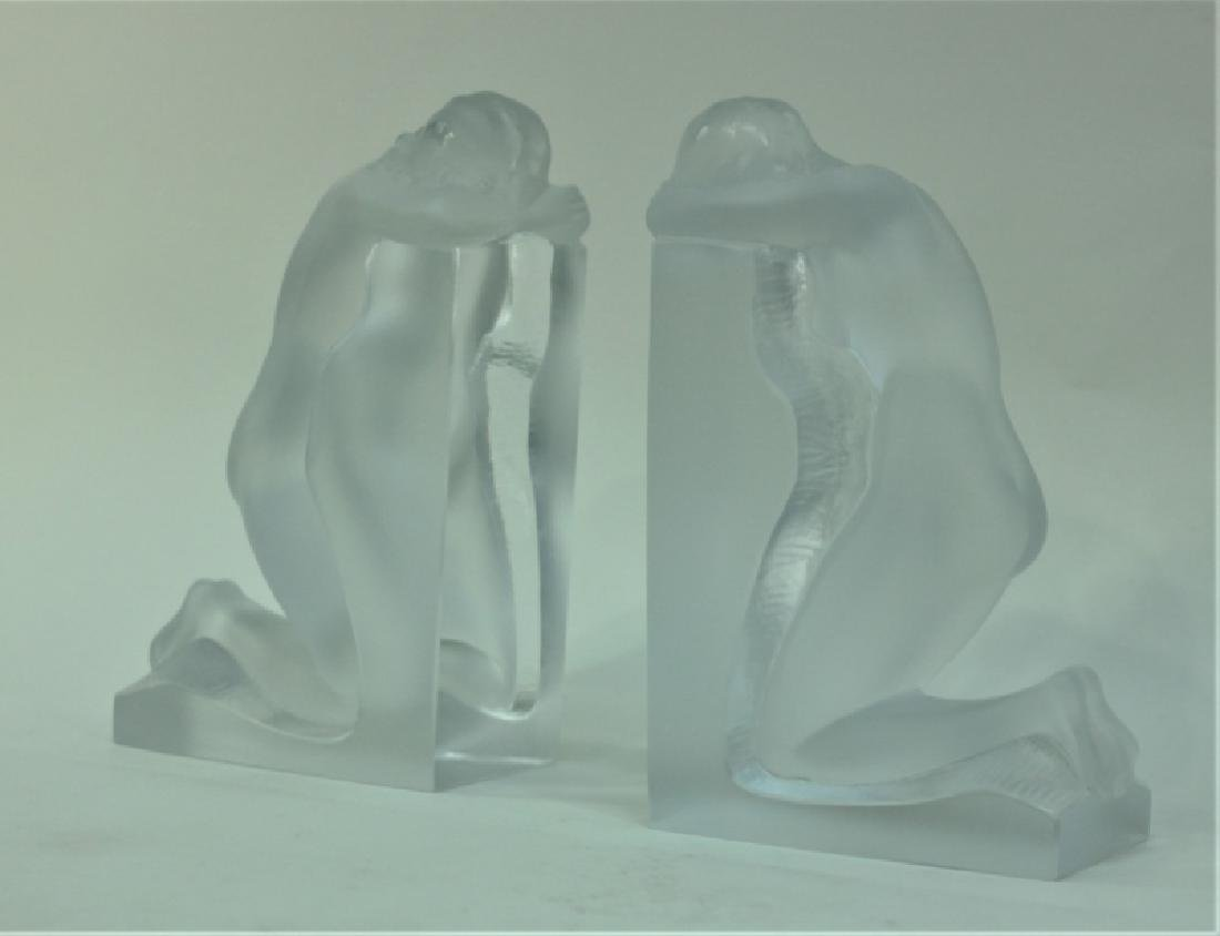 """Pair of Nude Female Lalique """"Reverie"""" Bookends - 2"""