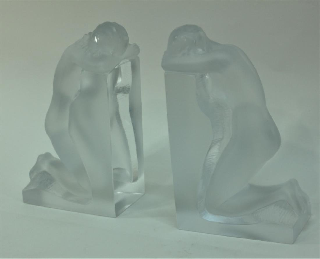 """Pair of Nude Female Lalique """"Reverie"""" Bookends - 3"""