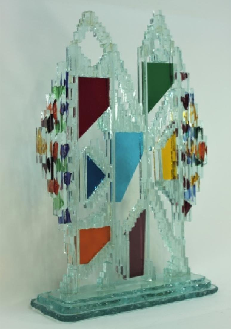 Regis Vintage Brutalist Glass Twin Tower Sculpture