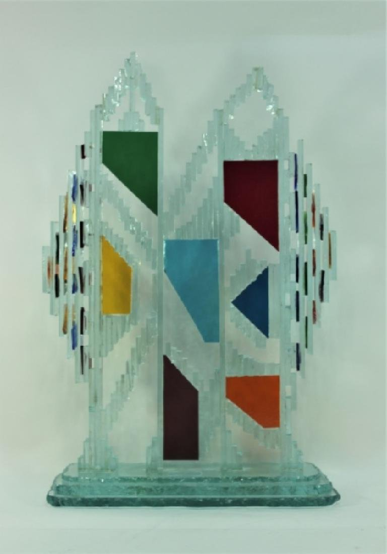 Regis Vintage Brutalist Glass Twin Tower Sculpture - 2