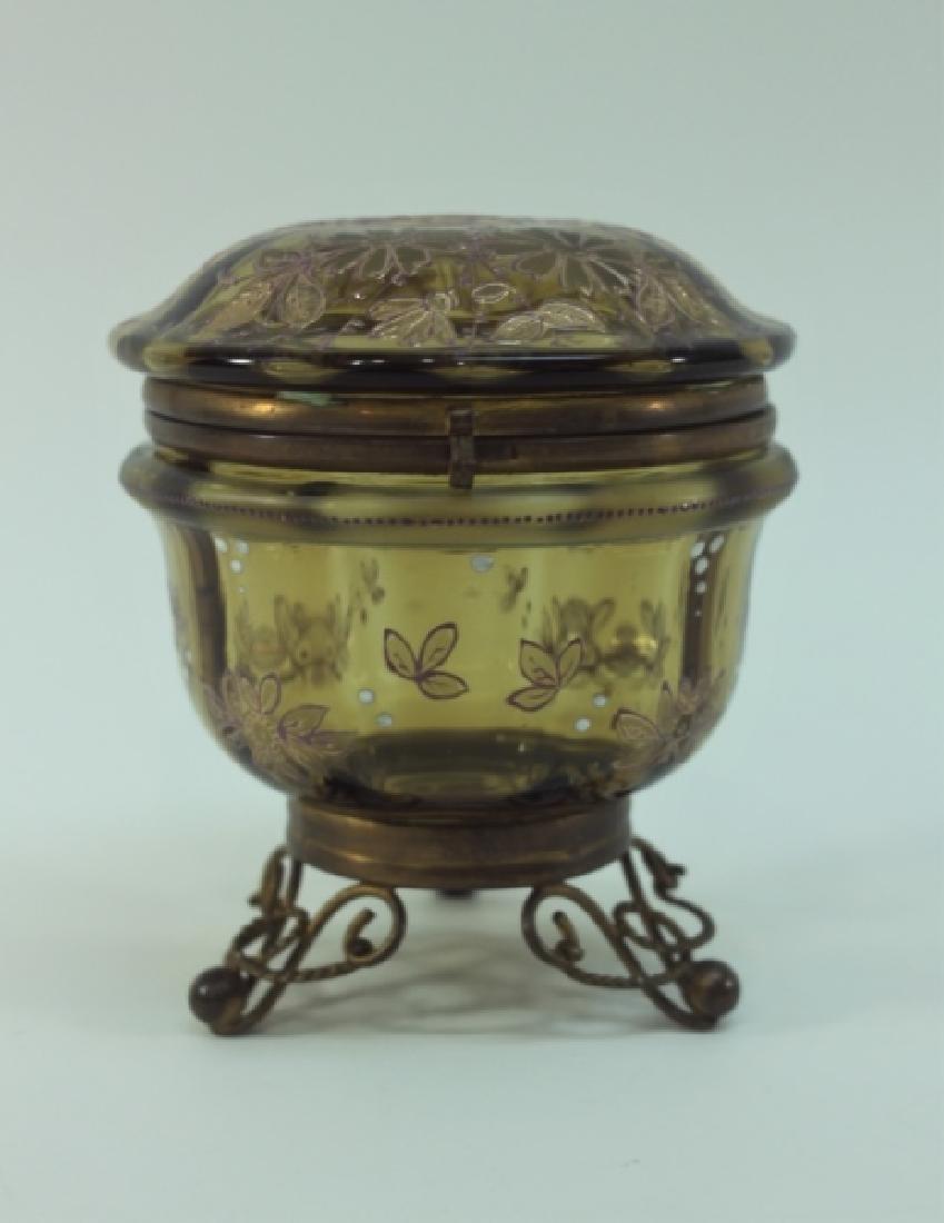 19c Bohemian Gilt, Floral Enamel Glass & Brass Box