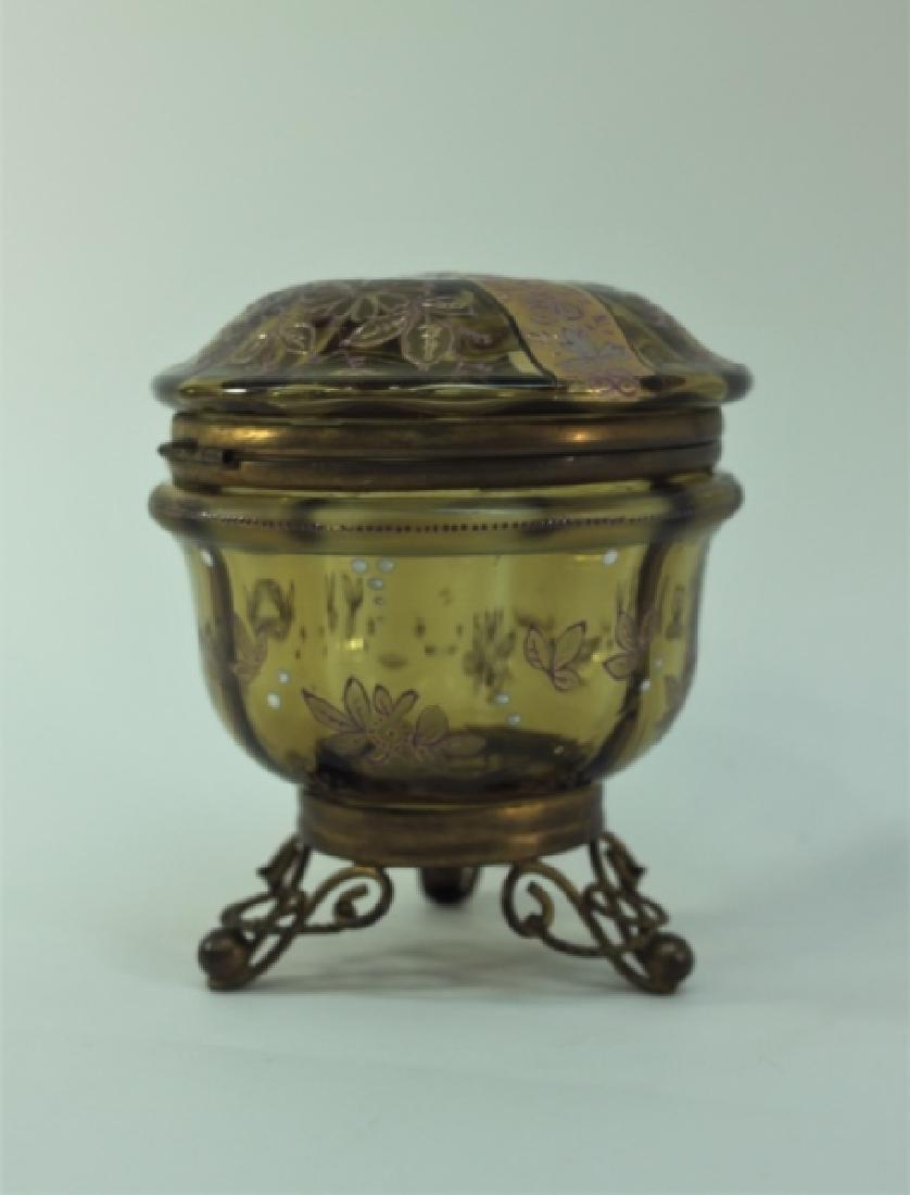 19c Bohemian Gilt, Floral Enamel Glass & Brass Box - 2