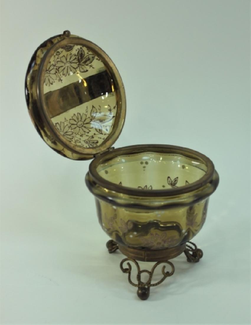 19c Bohemian Gilt, Floral Enamel Glass & Brass Box - 3
