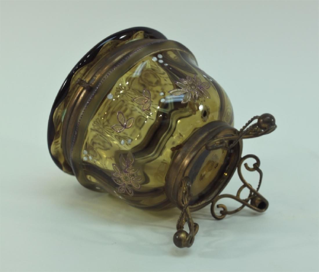 19c Bohemian Gilt, Floral Enamel Glass & Brass Box - 4