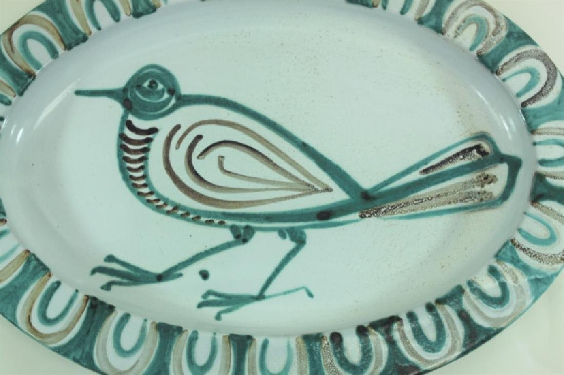 Picault French Vallauris Pottery Platter w Bird - 3