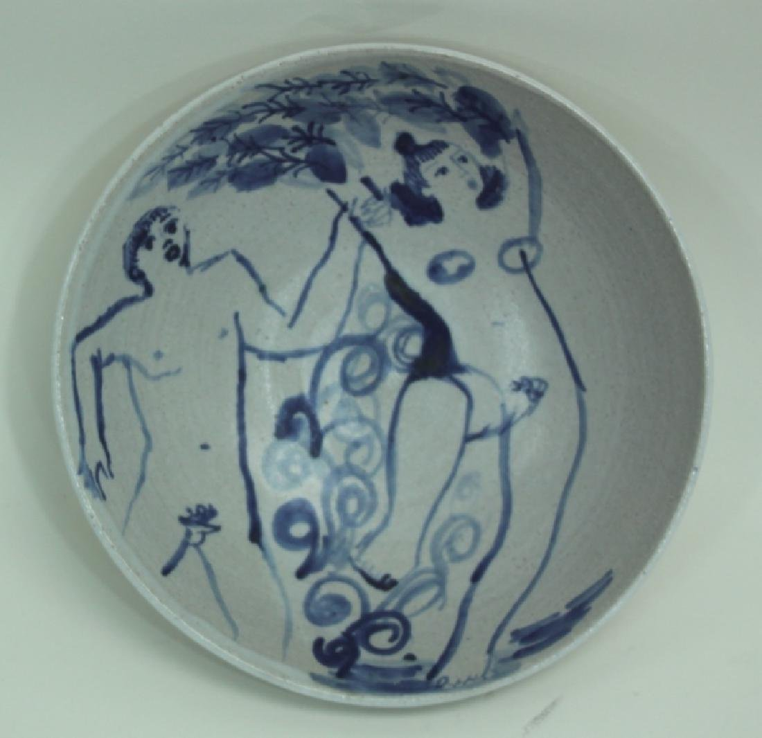Vintage Stoneware Bowl with Cavorting Nude Figures