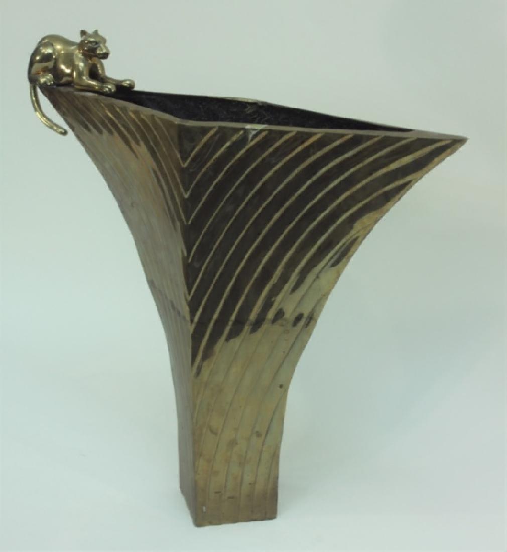 80's Dolbi-Cashier Art Deco Brass Vase w Panther - 2