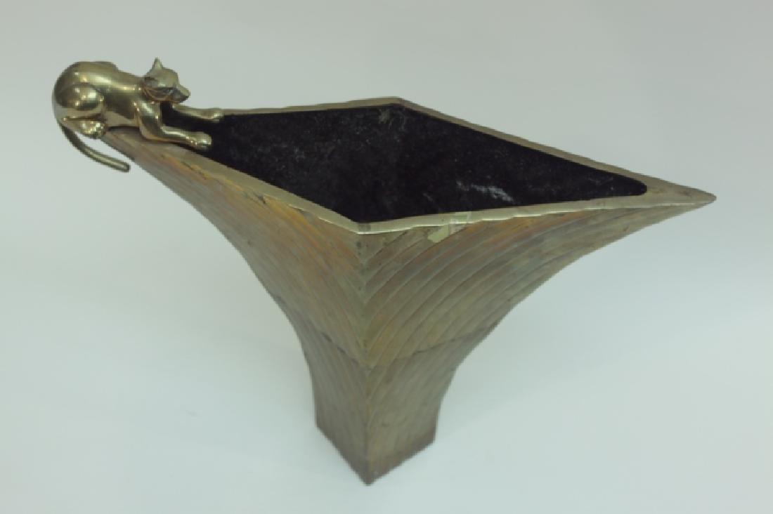 80's Dolbi-Cashier Art Deco Brass Vase w Panther - 3