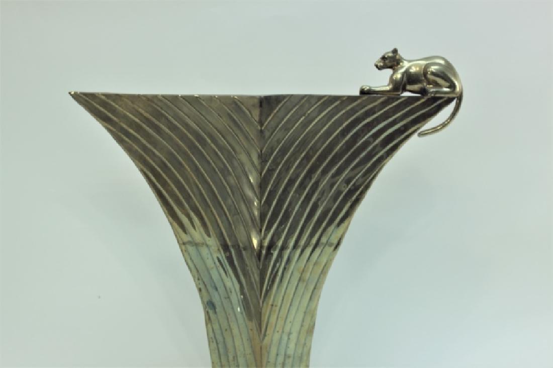 80's Dolbi-Cashier Art Deco Brass Vase w Panther - 4