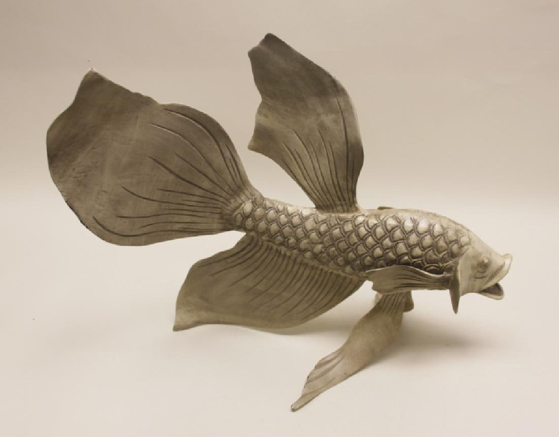Forged & Cast Iron Siamese Fighting Fish Sculpture - 2