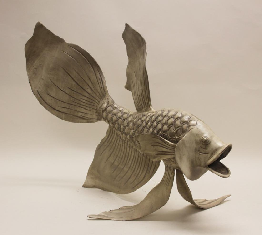 Forged & Cast Iron Siamese Fighting Fish Sculpture - 3