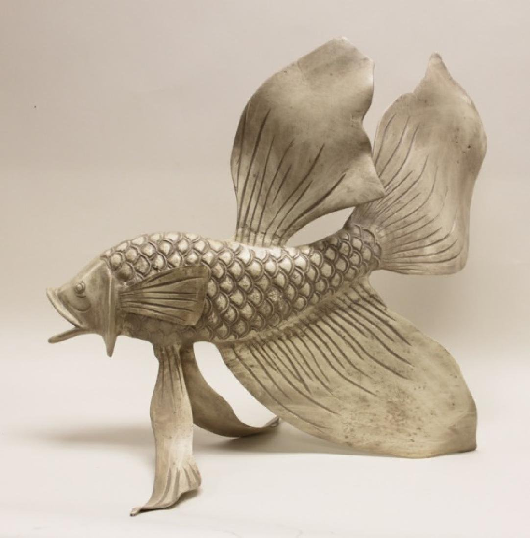 Forged & Cast Iron Siamese Fighting Fish Sculpture - 4