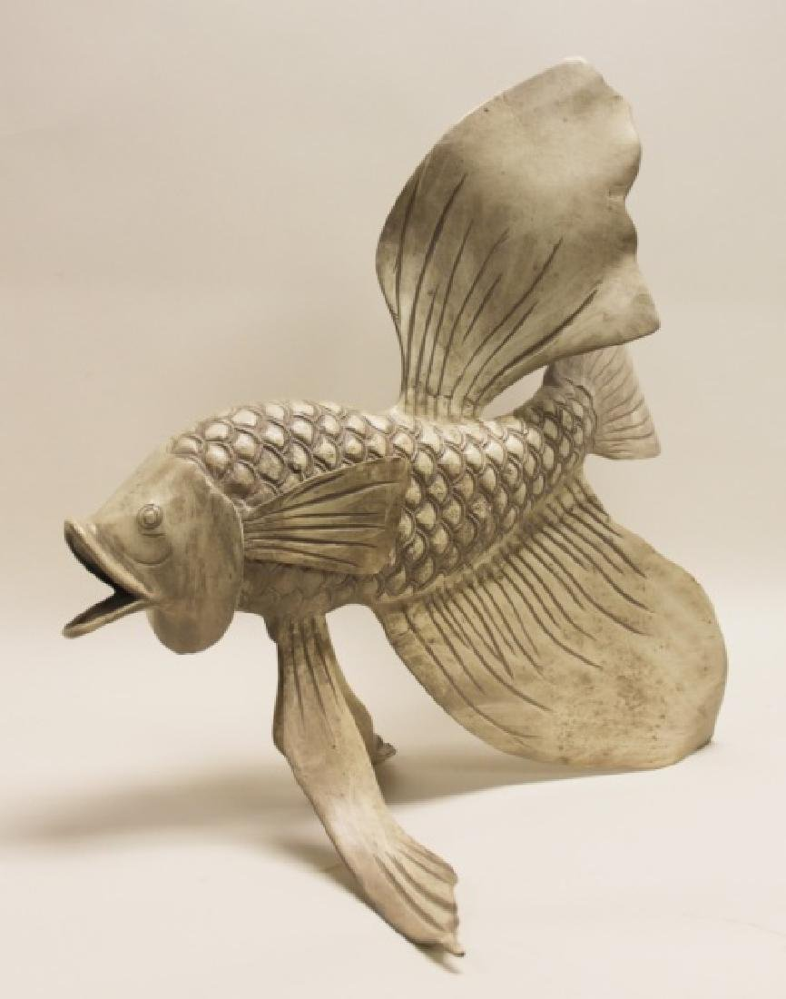Forged & Cast Iron Siamese Fighting Fish Sculpture - 5
