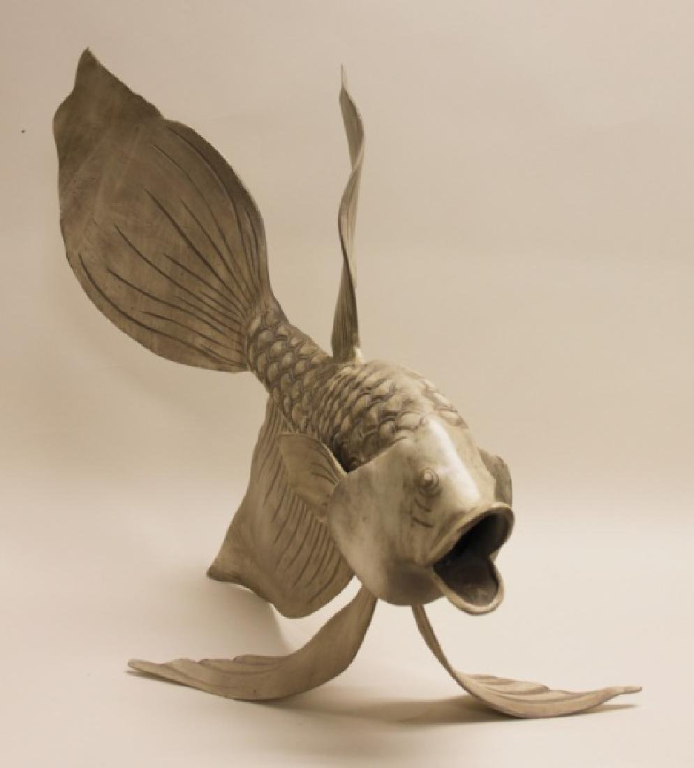 Forged & Cast Iron Siamese Fighting Fish Sculpture - 6
