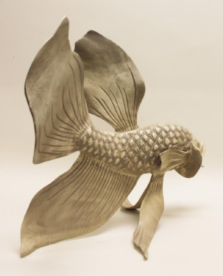 Forged & Cast Iron Siamese Fighting Fish Sculpture - 8