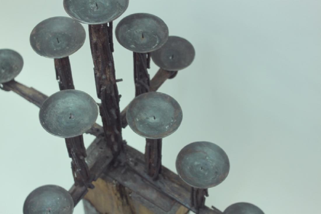 60's Brutalist Iron & Wood (9) Pricket Candelabra - 10
