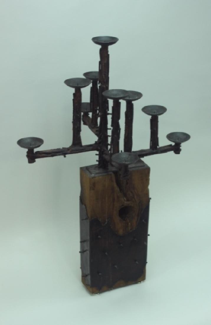 60's Brutalist Iron & Wood (9) Pricket Candelabra - 2