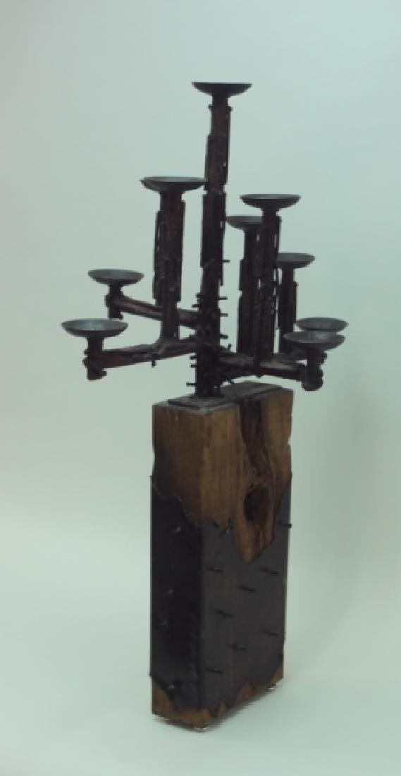 60's Brutalist Iron & Wood (9) Pricket Candelabra - 4