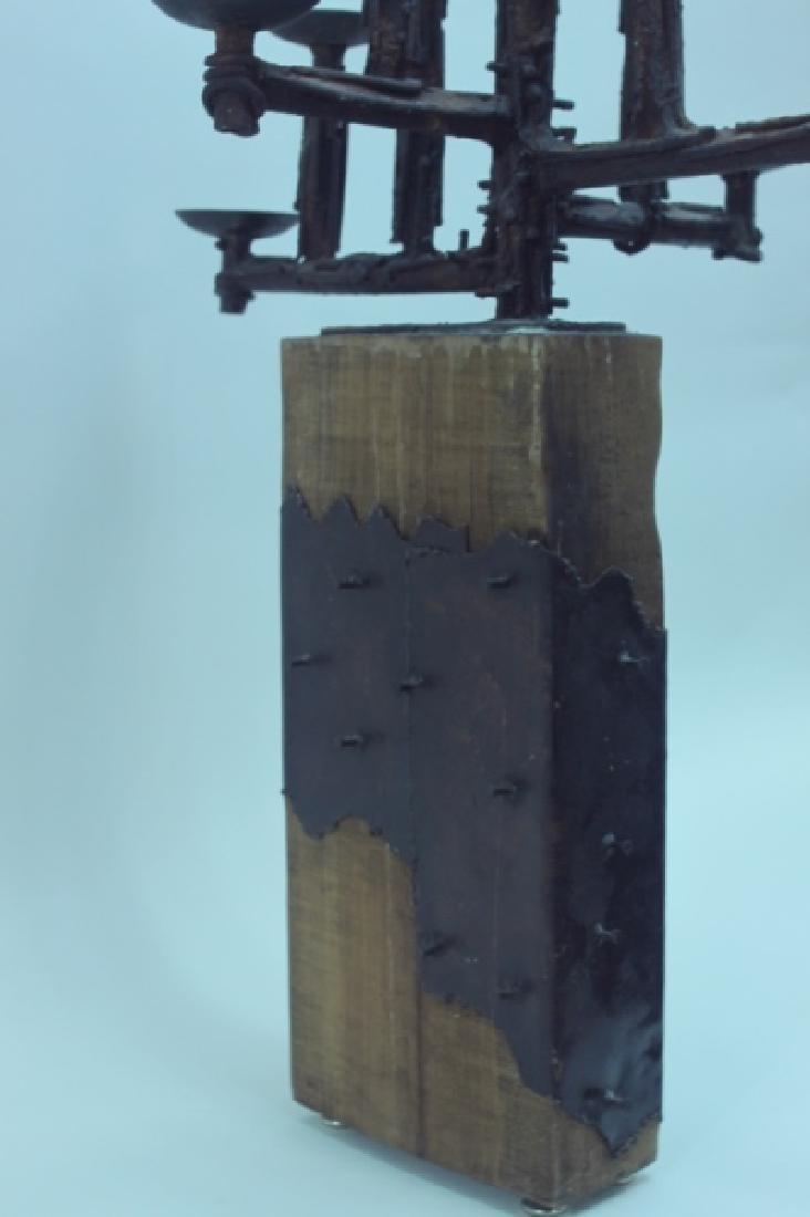 60's Brutalist Iron & Wood (9) Pricket Candelabra - 5