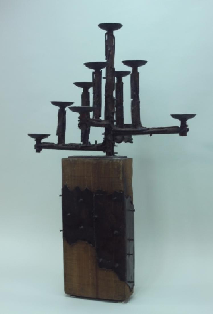 60's Brutalist Iron & Wood (9) Pricket Candelabra - 6