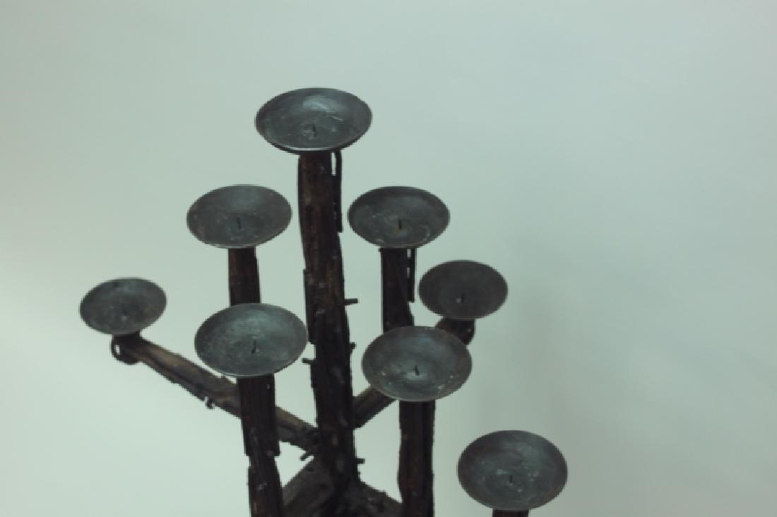 60's Brutalist Iron & Wood (9) Pricket Candelabra - 8