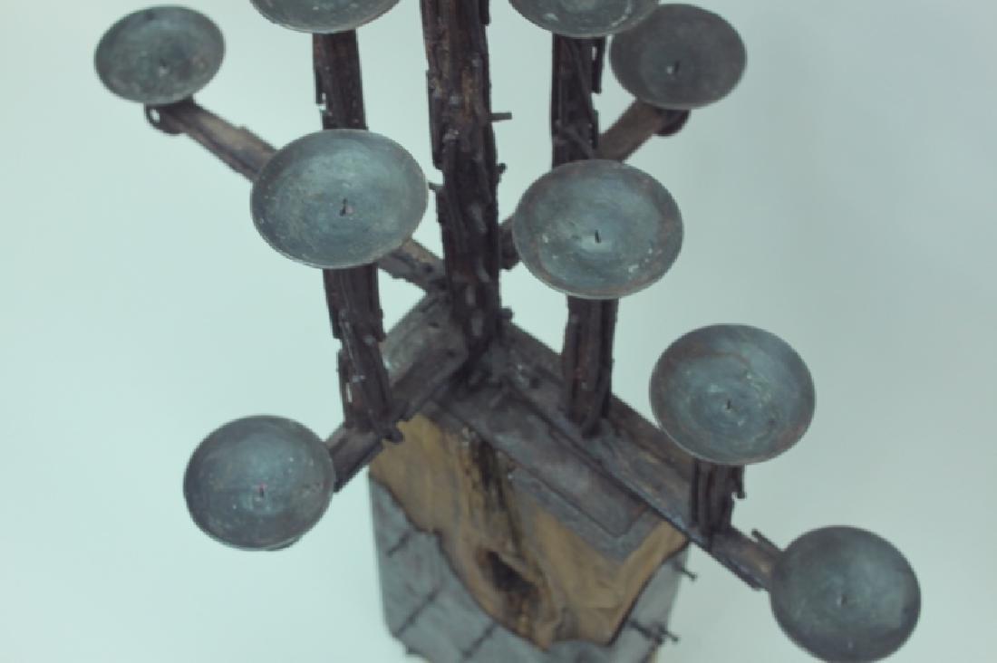 60's Brutalist Iron & Wood (9) Pricket Candelabra - 9