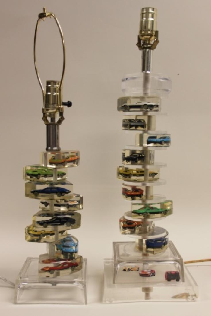 (2)Lucite Lamps Encased Matchbox Cars in Camshaft