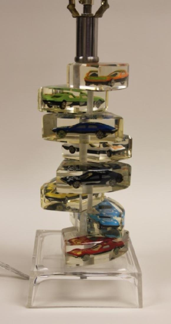 (2)Lucite Lamps Encased Matchbox Cars in Camshaft - 3
