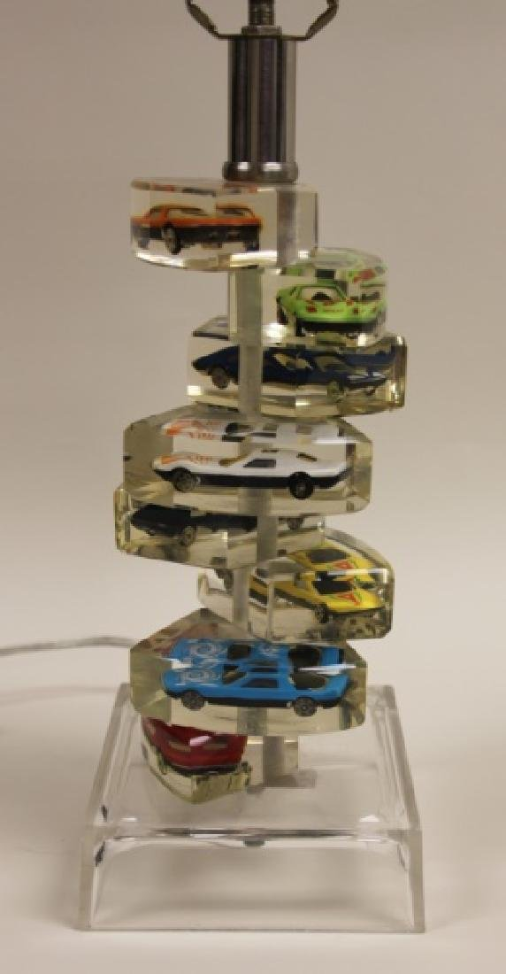 (2)Lucite Lamps Encased Matchbox Cars in Camshaft - 4