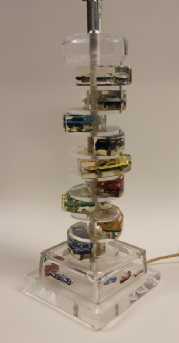(2)Lucite Lamps Encased Matchbox Cars in Camshaft - 7